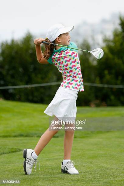 Asterisk Talley competes in the Drive competition for the 79 year old girls during the Drive Chip and Putt Western Region Qualifying tournament at...