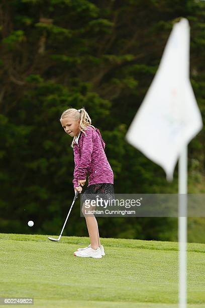 Asterisk Talley competes in the girls 79 year old competition during the regional qualifying round of The Drive Chip and Putt Championship at The...