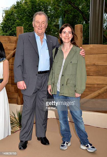 Asterix and Parcs CEO Olivier Garaialde and Asterix writer Rene Goscinny's daughter Anne Goscinny attend the 'Oziriz' New Game Launch at the Parc...