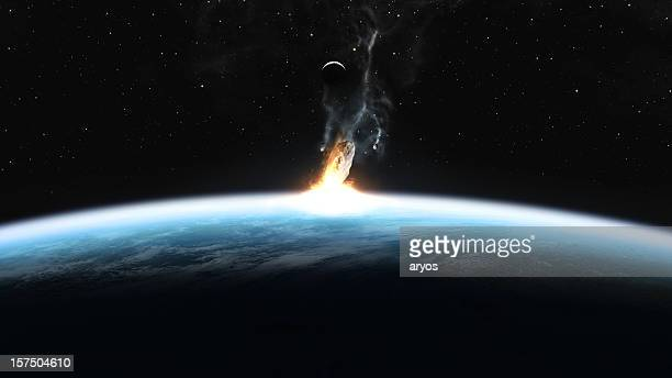 asteroid impact on earth - asteroid stock pictures, royalty-free photos & images