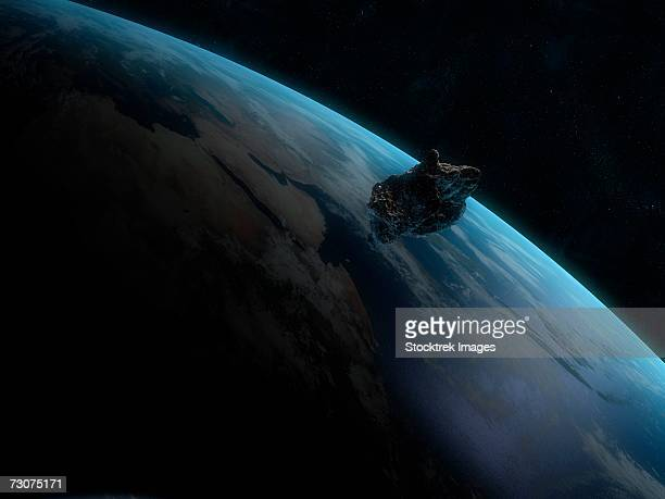 Asteroid in front of the Earth.