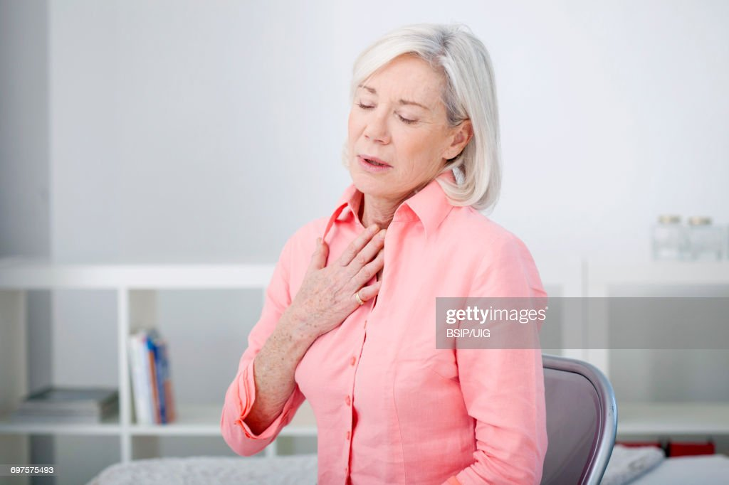 Asthma, elderly person : Stock Photo