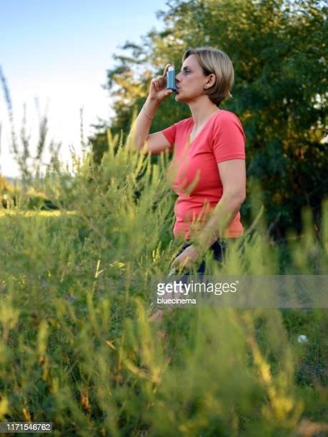 asthmatischer inhalator - ambrosia stock-fotos und bilder