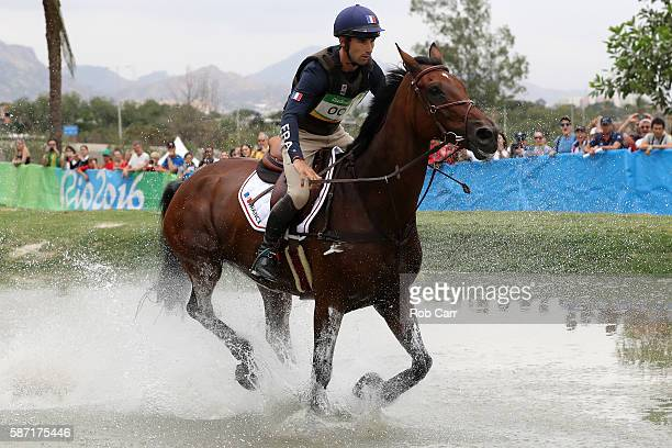 Astier Nicolas of France riding Piafde B'Neville competes during the Cross Country Eventing on Day 3 of the Rio 2016 Olympic Games at the Olympic...
