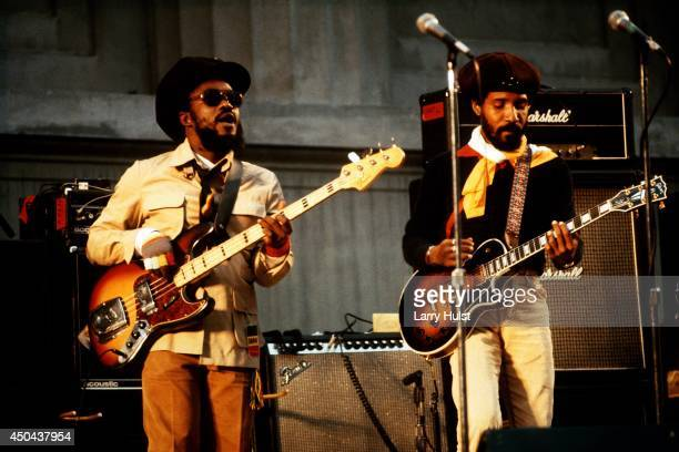 Aston Barrett and Al Anderson performing with 'The Wailers' at the Greek Theater in Berkeley California on October 24 1981