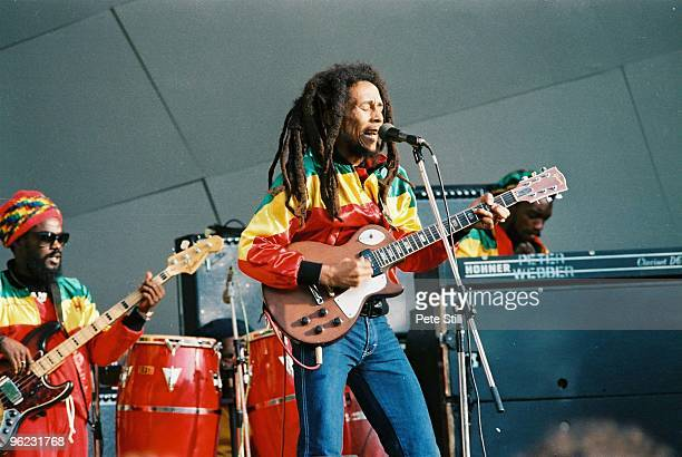 Aston 'Family Man' Barrett and Bob Marley perform on stage at Crystal Palace Bowl on June 7th, 1980 in London, United Kingdom.