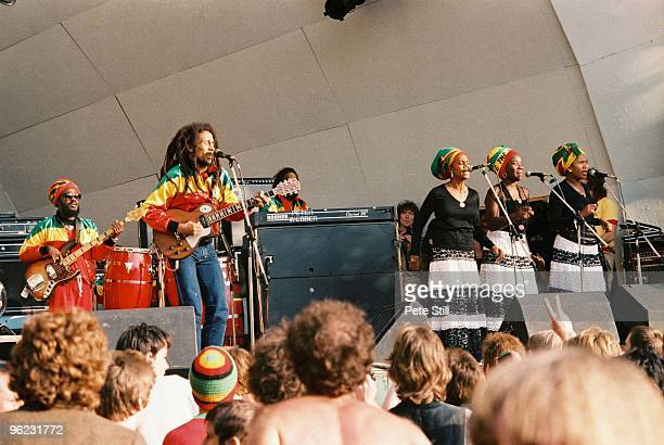Aston 'Family Man' Barrett Bob Marley and The IThrees perform on stage at Crystal Palace Bowl on June 7th 1980 in London United Kingdom