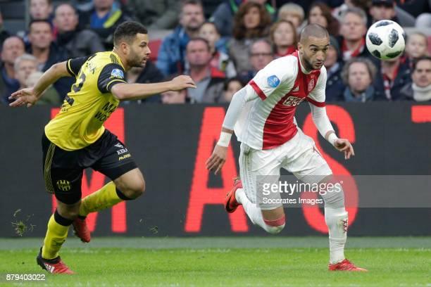 Aston Gotz of Roda JC Hakim Ziyech of Ajax during the Dutch Eredivisie match between Ajax v Roda JC at the Johan Cruijff Arena on November 26 2017 in...
