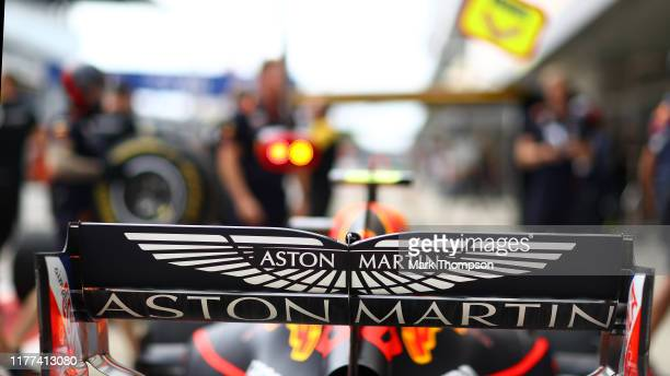 Aston Martin branding is seen on the rear wing of the Red Bull Racing RB15 during practice for the F1 Grand Prix of Russia at Sochi Autodrom on...