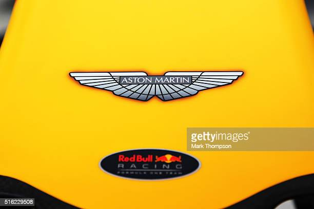 Aston Martin branding on the Red Bull Racing RB12 during practice ahead of the Australian Formula One Grand Prix at Albert Park on March 18 2016 in...