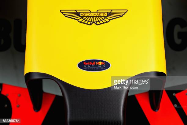 Aston Martin branding on the Red Bull Racing RB13 during practice for the Malaysia Formula One Grand Prix at Sepang Circuit on September 29 2017 in...