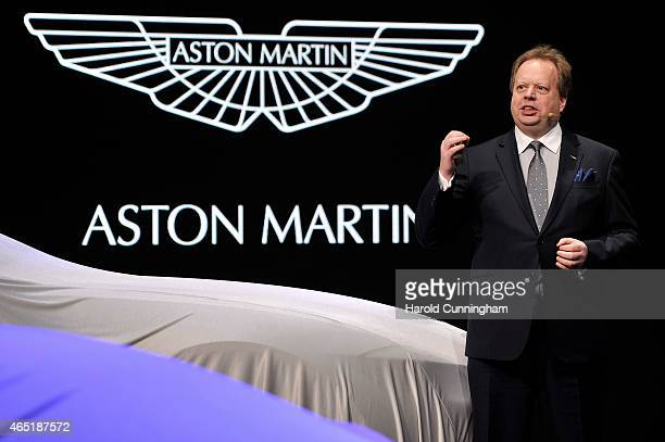 Aston Martin CEO Andy Palmer speaks during the 85th International Motor Show on March 3 2015 in Geneva Switzerland The 85th International Motor Show...