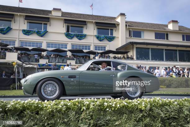 Aston Martin DB4GT Zagato Coupe is driven onto the winners ramp during the 2019 Pebble Beach Concours d'Elegance in Pebble Beach, California, U.S.,...