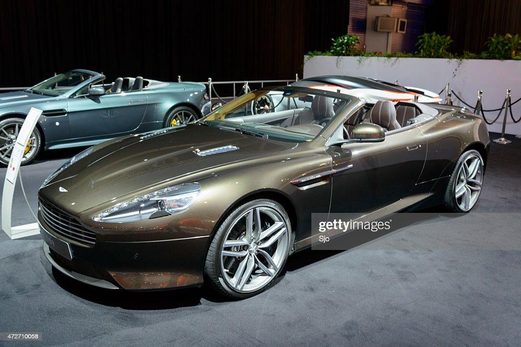 Aston Martin Db9 Volante Convertible Sports Car Front View Stock
