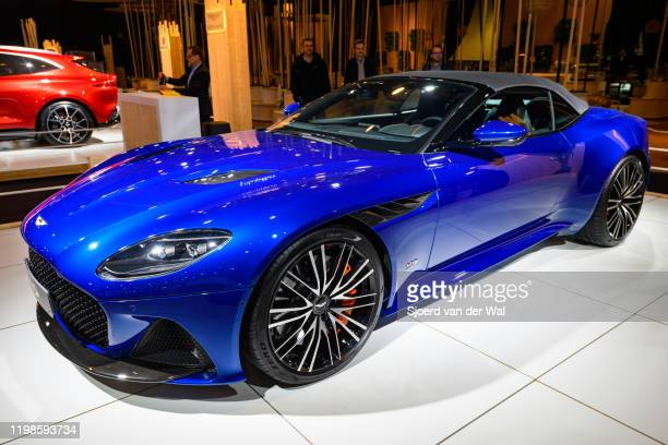 Aston Martin DBS Superleggera Volante convertible sports car on display at Brussels Expo on JANUARY 08 2020 in Brussels Belgium The DBS is fitted...