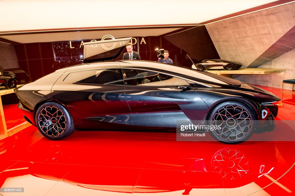 Aston Martin Lagonda is displayed at the 88th Geneva International Motor Show on March 7, 2018 in Geneva, Switzerland. Global automakers are converging on the show as many seek to roll out viable, mass-production alternatives to the traditional combustion engine, especially in the form of electric cars. The Geneva auto show is also the premiere venue for luxury sports cars and imaginative prototypes.