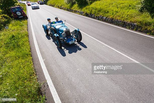 Aston Martin Le Mans pass on the road of the Futa Pass towards Bologna during the Millle Miglia on May 21 2016 in Bologna Italy