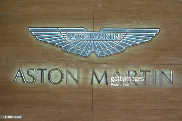 Aston Martin logo is displayed during the second press day at the 89th Geneva International Motor Show on March 6 2019 in Geneva Switzerland
