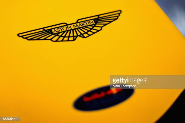Aston Martin logo on the nose of the Red Bull Racing RB13 during practice for the Formula One Grand Prix of Japan at Suzuka Circuit on October 6 2017...