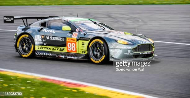 Aston Martin Racing Aston Martin GT8 VantageofPedro Lamy Paul Dalla Lana andMathias Lauda on track during the 6 Hours of SpaFrancorchamps race the...