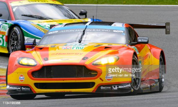 Aston Martin Racing Aston Martin Vantage V8 driven by MACDOWALL A REES FSTANAWAY R driving through La Source Hairpin with an AF Corse Ferrari 458...