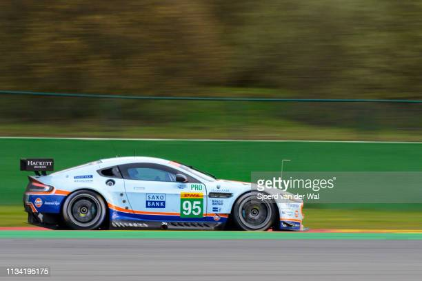 Aston Martin Racing Aston Martin Vantage V8 driven by NYGAARD C SØRENSEN MADAM J driving through Spearker's corner during the 6 Hours of...