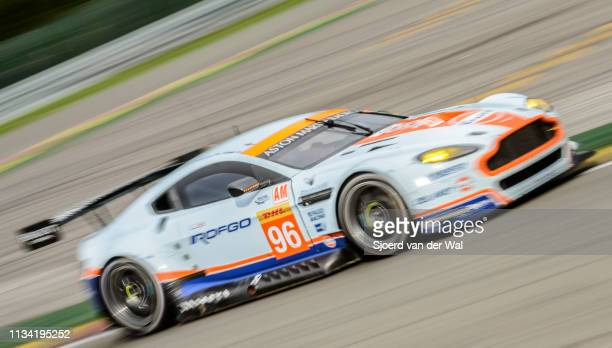 Aston Martin Racing Aston Martin Vantage V8 racing car driven by CASTELLACCI F GOETHE RHALL S driving through Les Combes corner on track during the 6...