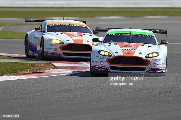 Aston Martin Racing cars driven by Paul Dalla Lana of Canada, Pedro Lamy of Portugal and Mathias Lauda of Austria and Francesco Castellacci of Italy,...