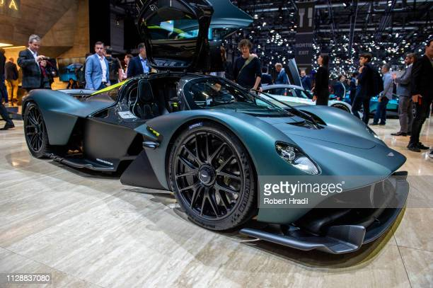 Aston Martin Valkyrie is displayed during the second press day at the 89th Geneva International Motor Show on March 6, 2019 in Geneva, Switzerland.