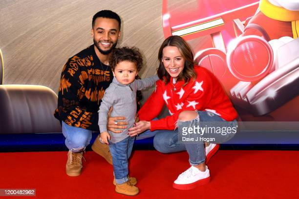 """Aston Merrygold and Gracie attend the """"Paw Patrol"""" gala screening at Cineworld Leicester Square on January 19, 2020 in London, England."""