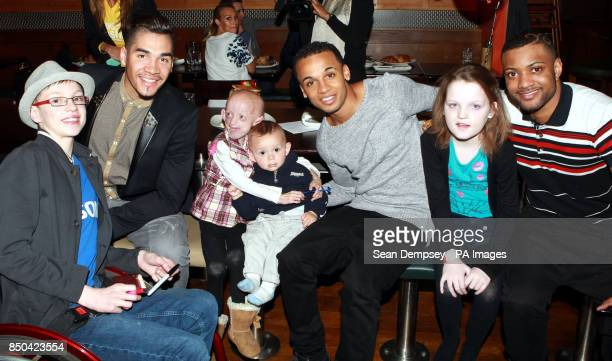 Aston Merrygold and JB from JLS and Louis Smith with Charlie Crick 14 from Bracknell Progeria suffer Ashanti ElliottSmith aged nine from Burgess Hill...