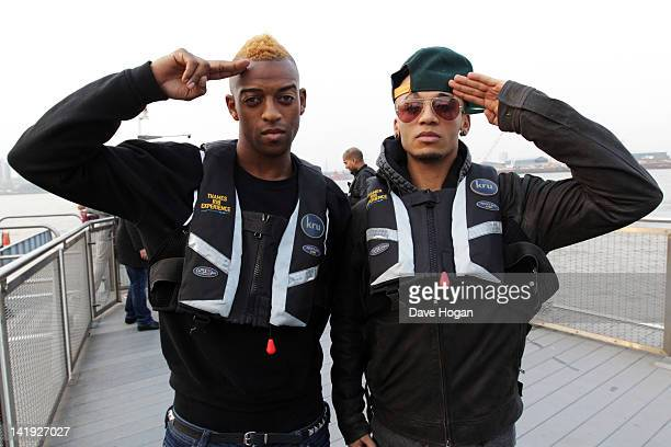 Aston Merrygold and Oritse Williams of JLS ride a jet boat up the Thames River from The O2 to perform on BBC Sport Relief 2012 on March 23 2012 in...