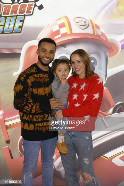 """Aston Merrygold and Sarah Richards attend the gala screening of """"Paw Patrol"""" at Cineworld Leicester Square on January 19, 2020 in London, England."""