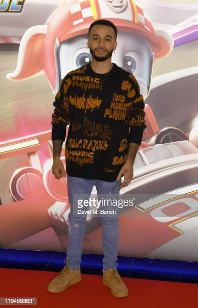 """Aston Merrygold attends the gala screening of """"Paw Patrol"""" at Cineworld Leicester Square on January 19, 2020 in London, England."""