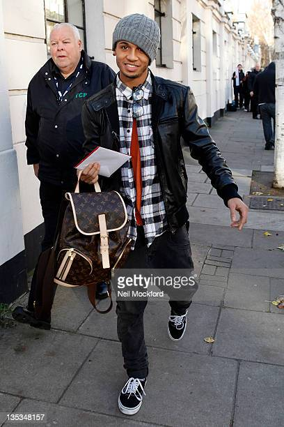 Aston Merrygold from JLS seen arriving at BBC Maida Vale Studios on December 9 2011 in London England
