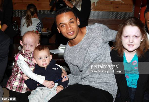 Aston Merrygold from JLS with Progeria suffer Ashanti ElliottSmith and her brother Shaine Wickens from Burgess Hill and Cystic Fibrosis suffer Chloe...