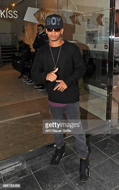 Aston Merrygold is seen leaving the Kiss FM Studios on September 25 2012 in London United Kingdom