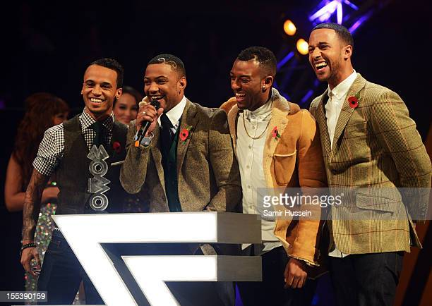 Aston Merrygold Jonathan 'JB' Gill Oritse William and Marvin Humes of JLS accept the award for Best Video at the 2012 MOBO awards at Echo Arena on...