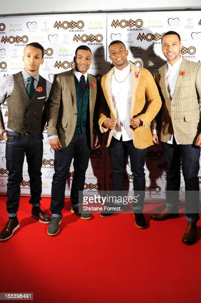 Aston Merrygold Jonathan 'JB' Gill Oritse William and Marvin Humes of JLS attends the 2012 MOBO awards at Echo Arena on November 3 2012 in Liverpool...