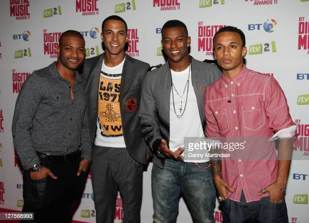 Aston Merrygold Marvin Humes Oritse Williams and JB Gill from the boy band JLS attend BT Digital Music Awards at The Roundhouse on September 29 2011...