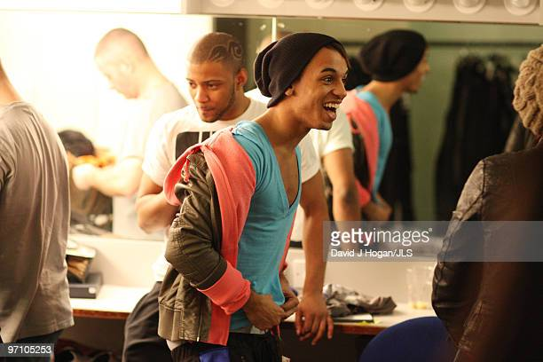 Aston Merrygold of JLS relaxes backstage ahead of a dress rehearsal show prior to the opening night of their JLS 2010 UK Tour