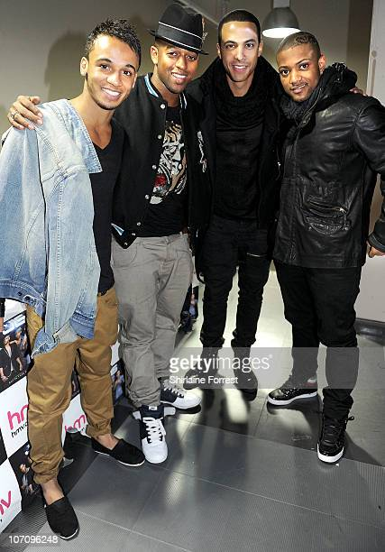 Aston Merrygold Oritsé Williams Marvin Humes and JB of JLS promote their new album 'Outta This World' at HMV on November 23 2010 in Manchester England
