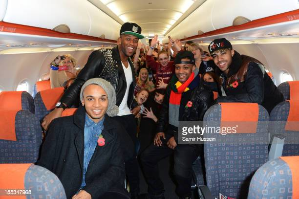 Aston Merrygold Oritse William Jonathan 'JB' Gill and Marvin Humes of JLS arrive at Liverpool John Lennon Airport prior to the 2012 MOBO awards on...
