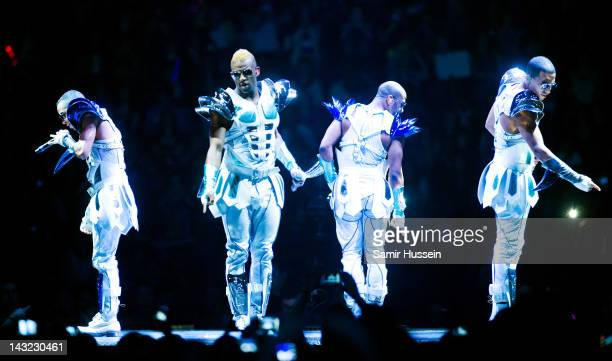 Aston Merrygold Oritse Williams JB Gill and Marvin Humes of JLS perform at the O2 Arena on April 21 2012 in London England