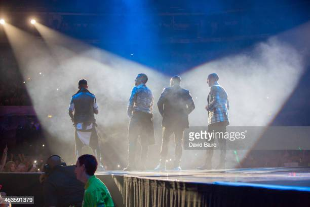 Aston Merrygold Ortise Wiliams JB Gill and Marvin Humes of JLS performs on stage at Nottingham Capital FM Arena on December 4 2013 in Nottingham...