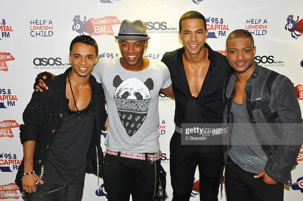 Aston Merrygold, Ortise Williams, Marvin Humes and Jonathan JB Gill of JLS posing backstage at the Capital FM Summertime Ball at Wembley Stadium on June 6, 2010 in London, England.