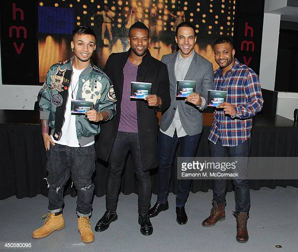 Aston Merrygold Ortise Williams Marvin Humes JB Gill of Boyband JLS attends the signing of their album 'Goodbye' at HMV Oxford Street on November 19...