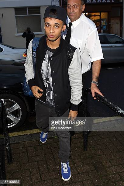 Aston Merrygold seen arriving at Riverside Studios to film Celebrity Juice on November 6 2013 in London England