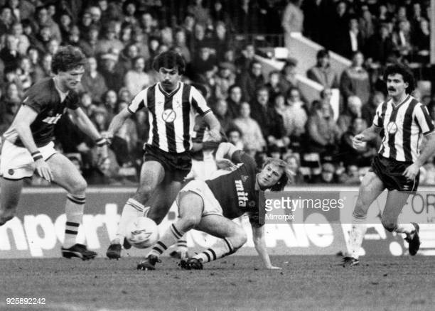 Aston Villa 31 WBA league match at Villa Park Tuesday 1st January 1985 Steve MacKenzie West Bromwich Albion Football Player pictured outstripping...