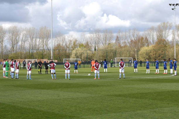 Aston Villa and Chelsea players observe a Minutes silence in honour of the Duke of Edinburgh prior to the Aston Villa v Chelsea U18 Premier League at...
